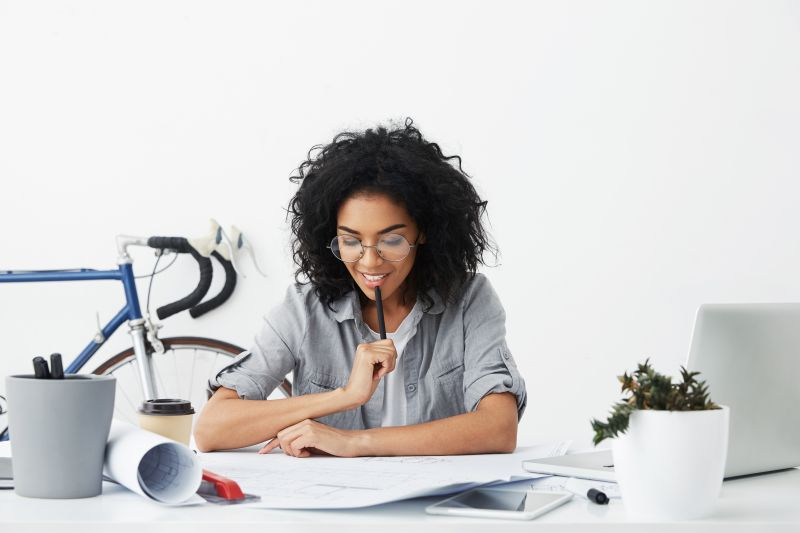 Woman studying materials